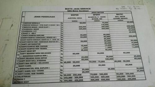 Harga Biaya Service Motor Yamaha Memang Beda Di Tiap Bengkel Resmi Sugimasihada